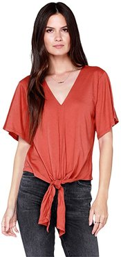 Flutter Sleeve Tie Font Tee in Lightweight Jersey (Canyon) Women's Clothing