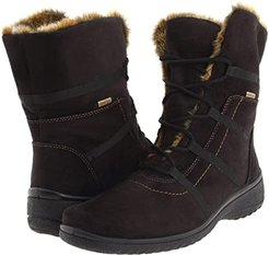 Magaly GORE-TEX(r) (Black Synthetic Suede w/ Beige Fur Trim) Women's Lace-up Boots