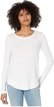 Long Sleeve Curved Hem Top in Slubbed Jersey (White) Women's Clothing