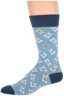 Happy Teeth (Blue) Men's Crew Cut Socks Shoes