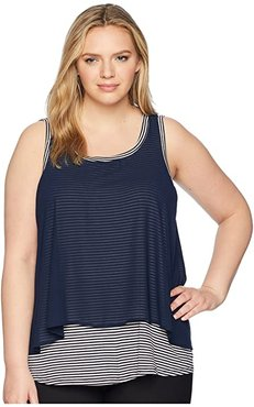 Plus Size Sydney Stripe Tank Top (Navy Stripe) Women's Sleeveless