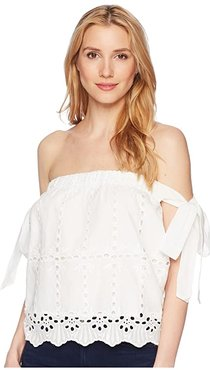 Bishop + Young Bare Shoulder Eyelet Top (White) Women's Clothing