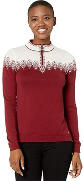 Snefrid Sweater (Ruby Melange/Off-White) Women's Sweater