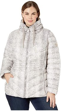 Plus Size EcoPlume Printed Packable Puffer Jacket (White Snake) Women's Jacket