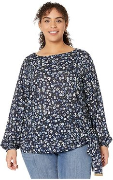 Plus Size Garden Tie Long Sleeve Top (Chambray) Women's Clothing