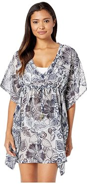 Bicolor Floral Silk Butterfly Cover-Up (Navy) Women's Swimwear