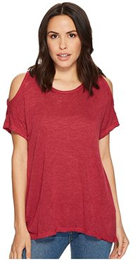 Top Knit Cold Shoulder (Berry) Women's Short Sleeve Pullover
