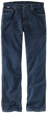 Big Tall Flame-Resistant Rugged Relaxed Fit Flex Jeans (Deep Indigo Wash) Men's Jeans