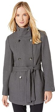 Double Breasted Peacoat with Detachable Belt (Mechanical Gray) Women's Coat