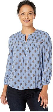 Inset Lace Button-Up Mock Neck Top (Blue Multi) Women's Clothing