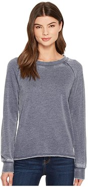 Burnout French Terry Lazy Day Pullover (Dark Navy) Women's Clothing