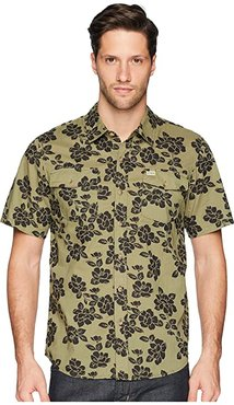 Jungle Rose Short Sleeve Woven (Olive) Men's Clothing