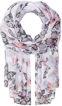 BSS1735 Woven Scattered Butterfly Print (Pink) Scarves