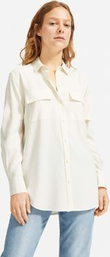 Washable Silk Relaxed Shirt by Everlane in Bone, Size 10
