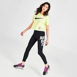 Sportswear Leg-A-See Just Do It Leggings in Black Size X-Small Cotton/Polyester/Spandex