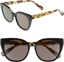 Blanc & Eclare Monaco 54Mm Cat Eye Sunglasses - Black/ Lemon Tortoise/ Grey