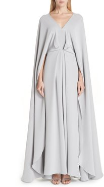 V-Neck Cape Silk Gown