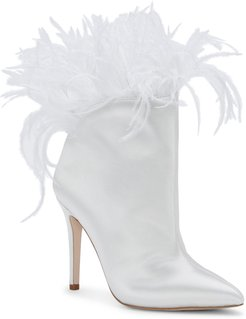 Prixey Feather Trim Pointed Toe Bootie