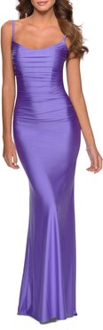 Strappy Back Ruched Trumpet Gown