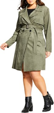 Plus Size Women's City Chic Faux Suede Trench Coat