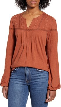 Caslon Embroidered Yoke Lace Trim Top