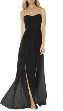 Strapless Georgette A-Line Gown