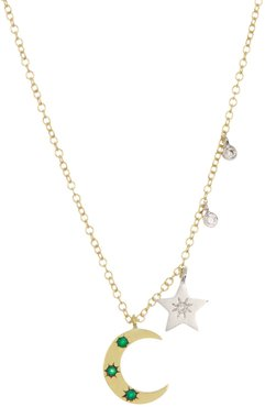 Meira T 14K Yellow Gold Diamond Moon & Star Charm Necklace - 0.13 ctw at Nordstrom Rack