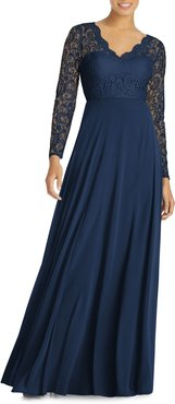 Long Sleeve Lace & Chiffon A-Line Gown