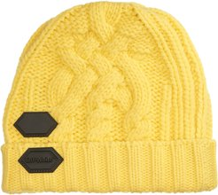 Rubber Patch Cable Knit Wool Beanie -
