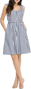 Gingham Belted Fit & Flare Dress
