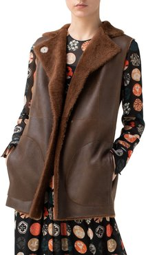 Reversible Lambskin Leather & Genuine Shearling Gilet