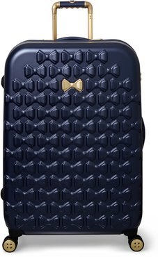 Large Beau Bow Embossed Four-Wheel 31-Inch Trolley Suitcase - Blue