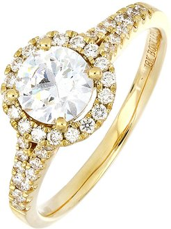 Pave Diamond Halo Solitaire Engagement Ring (Trunk Show Exclusive)