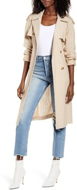Poppy Kenzie Pinstripe Cotton Blend Trench Coat