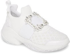Viv Crystal Buckle Slip-On Sneaker