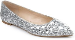 Ulanni Embellished Pointed Toe Glitter Flat