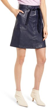 Emilou Belted Faux Leather Skirt