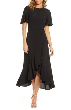 Emina Belted High/low Midi Dress