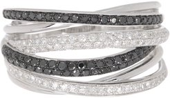 Effy 14K White Gold Pave Diamond Woven Multi-Band Ring - Size 7 - 0.56 ctw at Nordstrom Rack