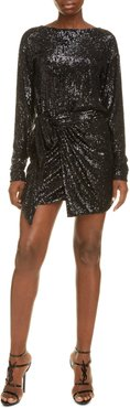 Sequin Long Sleeve Wrap Panel Minidress
