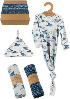 Infant Boy's Oliver & Rain Whaleshark Gown, Hat & Swaddles Gift Set