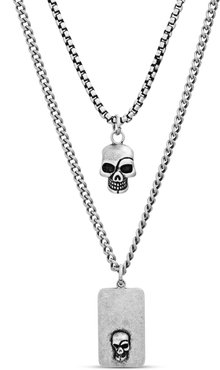 Skull Dog Tag Duo Pendant Necklace