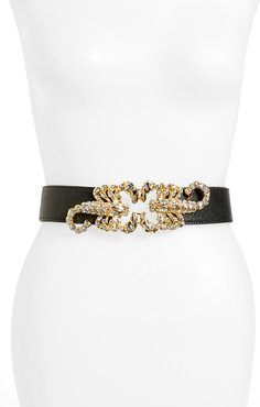 Queen Scorpion Leather Belt White Crystal