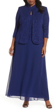 Plus Size Women's Alex Evenings Mock Two-Piece Gown With Jacket
