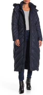 Larry Levine Multi Directional Chevron Faux Fur Trim Hooded Maxi Puffer Jacket at Nordstrom Rack
