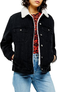 Oversize Denim Jacket With Faux Shearling Trim