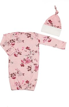 Infant Girl's Baby Grey By Everly Grey Floral Gown & Hat Set