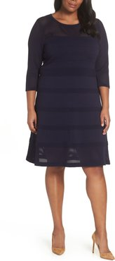 Plus Size Women's Vince Camuto Mixed Stitch Pointelle Fit & Flare Dress
