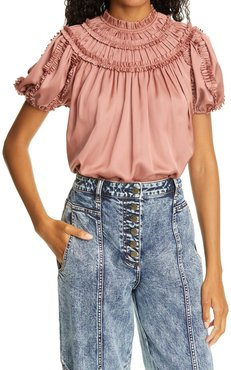Nicolette Pleated Puff Sleeve Satin Top