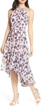 Floral Ruffle High/low Halter Dress